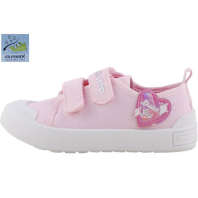 Rózsaszín, szívecskés, bőr betétes, dd step vászoncipő