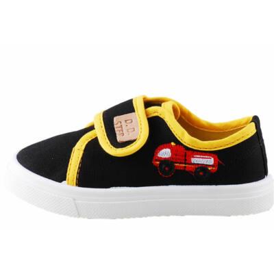 Fekete-sárga, tűzoltóautós, bőr betétes, D.D.Step vászoncipő