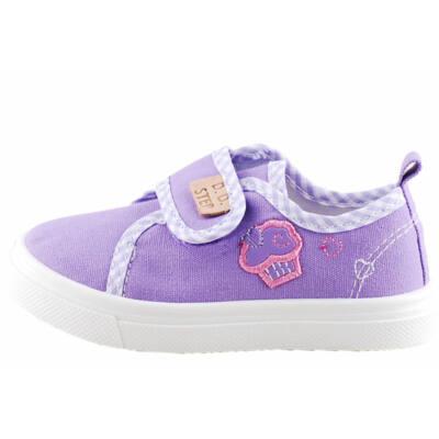 Lila, rózsaszín muffin-os, bőr betétes, D.D.Step vászoncipő