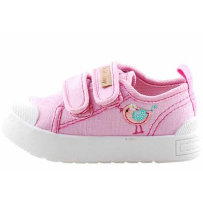Rózsaszín, madárkás, bőr talpbetétes, D.D.Step vászoncipő