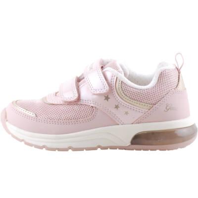 Rózsaszín-arany, csillagos, világító, lélegző talpú Geox edzőcipő