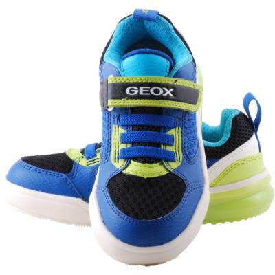 Geox, világító talpú, kék-neon, gumifűzős-tépőzáras, lélegző talpú cipő
