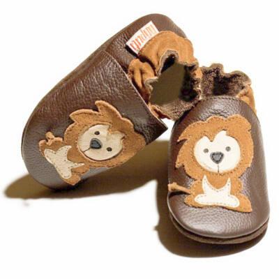 Barna, oroszlános, Liliputi puhatalpú cipő (M)