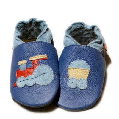 Liliputi kék vonatos, bőr puhatapú cipő