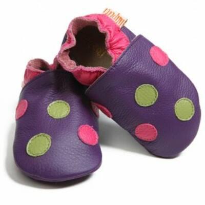 Liliputi lila, ciklámen-zöld pöttyös, bőr puhatalpú cipő