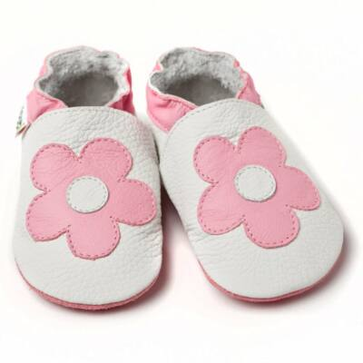 Liliputi fehér alapon, rózsaszín virágos, bőr puhtalpú cipő