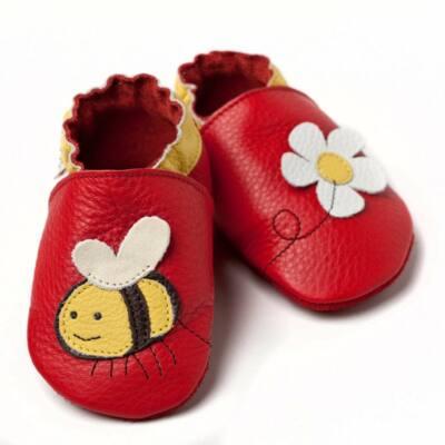Liliputi piros méhecskés, bőr puhatalpú cipő