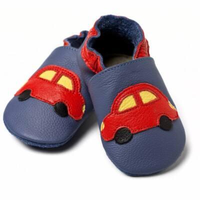 Liliputi kék, piros autós, bőr puhatalpú cipő