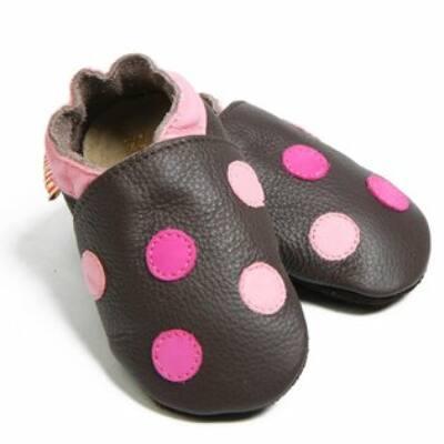 Liliputi barna, ciklámen-rózsaszín pöttyös, bőr puhatalpú cipő