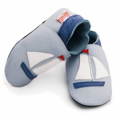 Liliputi kék hajós, bőr puhatapú cipő