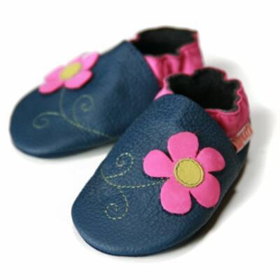 Liliputi sötétkék, ciklámen virágos, bőr puhatalpú cipő