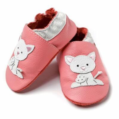 Liliputi rózsaszín cicás, bőr puhatalpú cipő