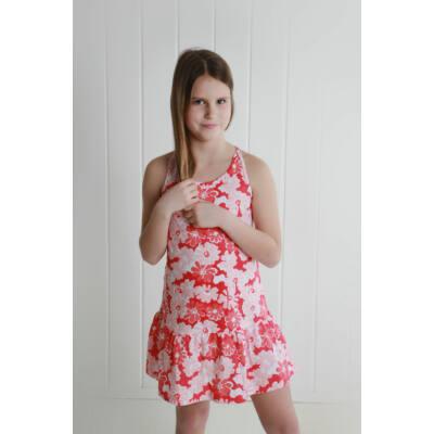Losan piros-koral-narancs virágmintás nyári ruha (92)