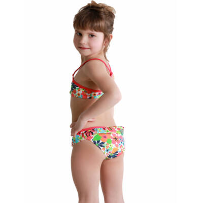 Losan ciklámen-narancs, virágos bikini (92)