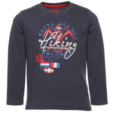 Losan sötétkék-piros, zászlós, Hiking feliratú, hosszú ujjú póló (92)