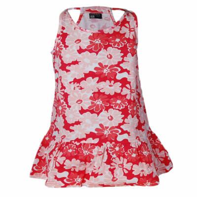 Losan piros-koral-narancs virágmintás nyári ruha (116)
