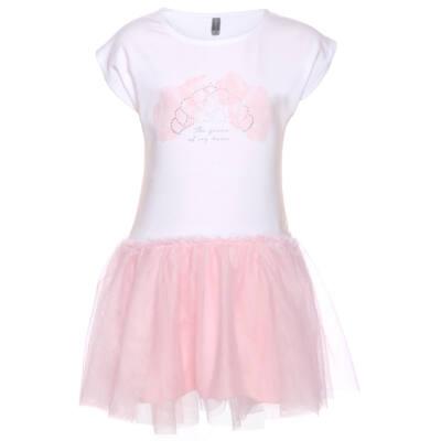 b15b7b41f1 Fehér, rózsás-flitteres koronánás felül pamutstrech, alul tüll ruha (98)