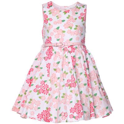 Barack-pink virágos, öves, elegáns, kislány ruha (92)