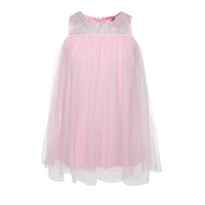 Rózsaszín tüllös, flitteres, Losan kislány ruha (98)