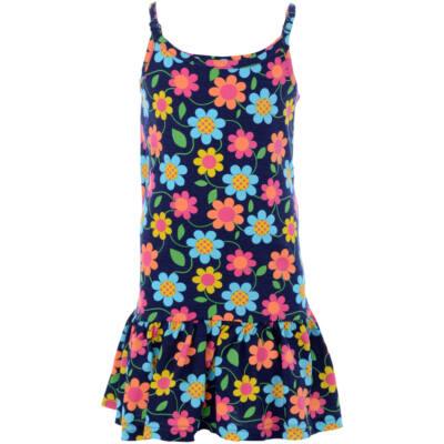 Losan sötétkék, tarka virágos nyári pántos ruha (104)