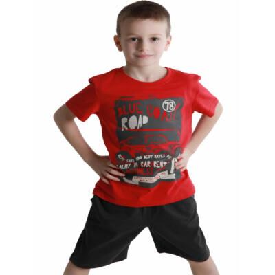 Losan piros-szürke autós rövidnadrág-póló szett (110)
