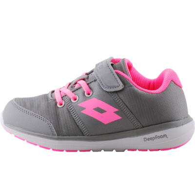 Szürke, pink gumifűzős, tépőzáras, memória habos, Lottó edzőcipő