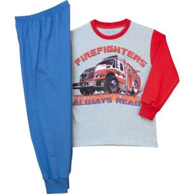 Pampress szürke-kék tűzoltóautós hosszú ujjú pizsama