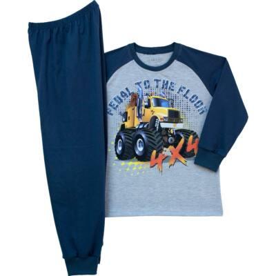 Pampress szürke-kék kamionos hosszú ujjú pizsama
