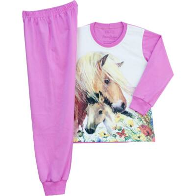 Pampress rózsaszín lovas, kiscsikós hosszú ujjú pizsama