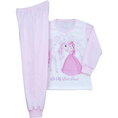 Pampress fehér-rózsaszín hercegnős-lovas hosszú ujjú pizsama ... e152119254