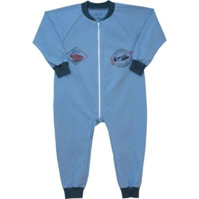 Kék, versenyautós, pamut, kezeslábas, Pampress pizsama