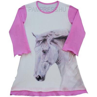 Pampress fehér-rózsaszín lovas hosszú ujjú hálóing - Levendula ... f82c7cc97b