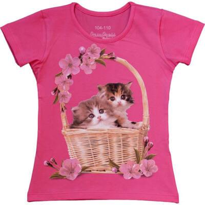 Pink cicás, virágos Pampress, kislány póló