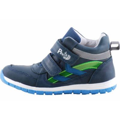 Sötétkék, zöld csíkos, magasszárú, Ponte 20 supinált cipő