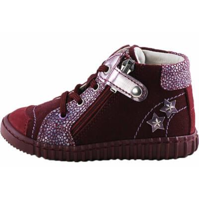 Bordó, csillagos, cipzáras-fűzős Primigi cipő
