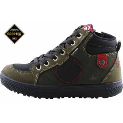 Erdészzöld, fekete-piros, Gore-Tex, vízálló, cipzáras-fűzős, Primigi cipő