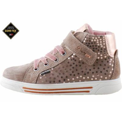 Barna-rózsaszín, gumifűzős-tépőzáras, flitteres, vízálló, Gore Tex-es, Primigi cipő