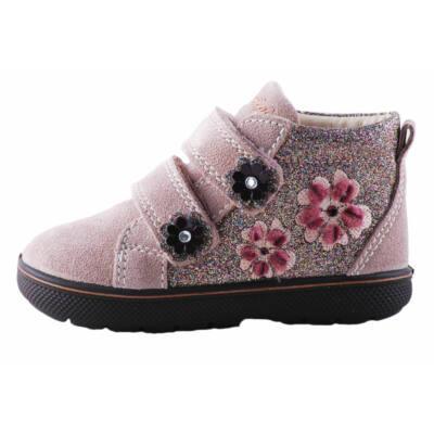 Primigi pasztellrózsaszín, mályva-barna virágos, csillogós, átmeneti, bőr cipő