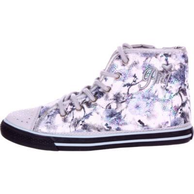 Primigi szürke, virágos, flitteres fűzős-cipzáras tornacipő