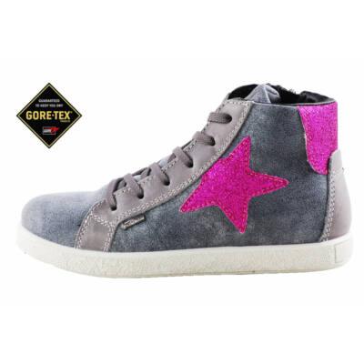 Primigi szürke, vízálló Gore-Tex, ciklámen csillagos cipzáras-fűzős cipő