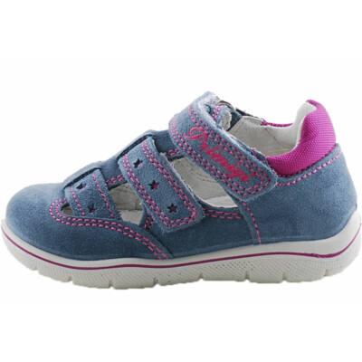 Kék, pink csillagos, extra hajlékony talpú, bőr, nyitott Primigi cipő
