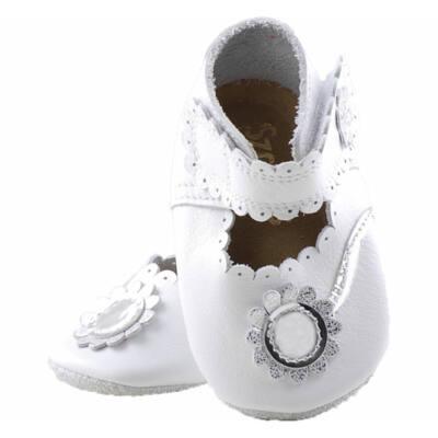Fehér, ezüst virágos, Szamos, puhatalpú cipő