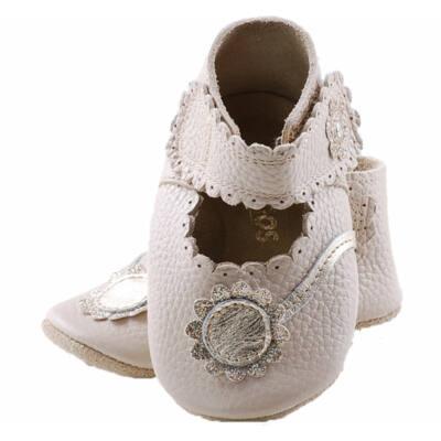 Krém, arany virágos, Szamos, puhatalpú cipő