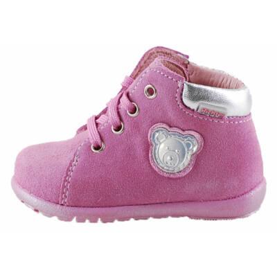 Rózsaszín-ezüst macis, extra puha Richter tanulócipő