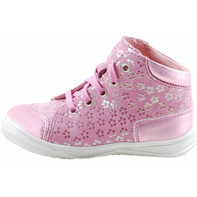 Rózsaszín, csillogó virágos, fűzős, extra hajlékony talpú, Richter cipő