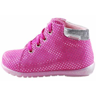 Pink, ezüst pöttyös, extra hajlékony talpú, Richter tanulócipő
