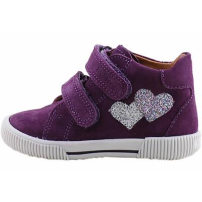 Lila, ezüst szívecskés, kislány Richter cipő