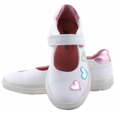 Fehér, színes szívecskés, Richter balerina cipő