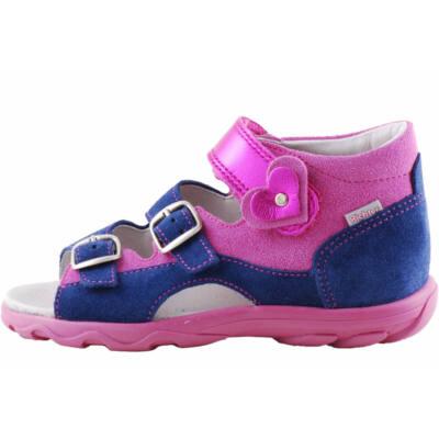 Kék-pink, csillogó szivecskés, lányka, Richter szandál