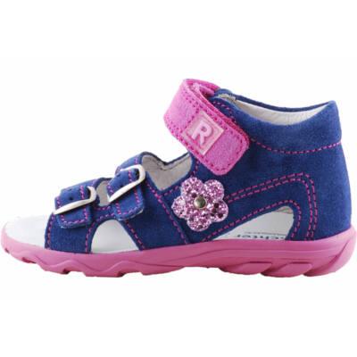 Kék, csillogó rózsaszín virágos, kislány, Richter szandál